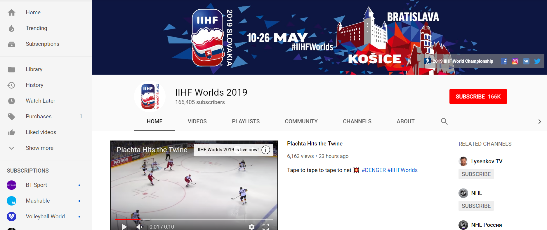 IIHF YouTube